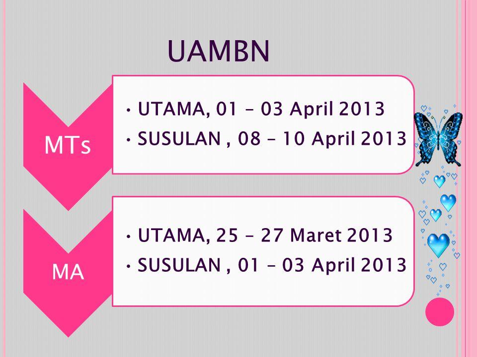 UAMBN MA UTAMA, 01 – 03 April 2013 SUSULAN , 08 – 10 April 2013