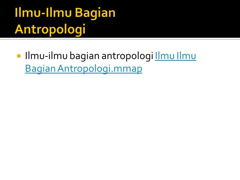 Ilmu-Ilmu Bagian Antropologi