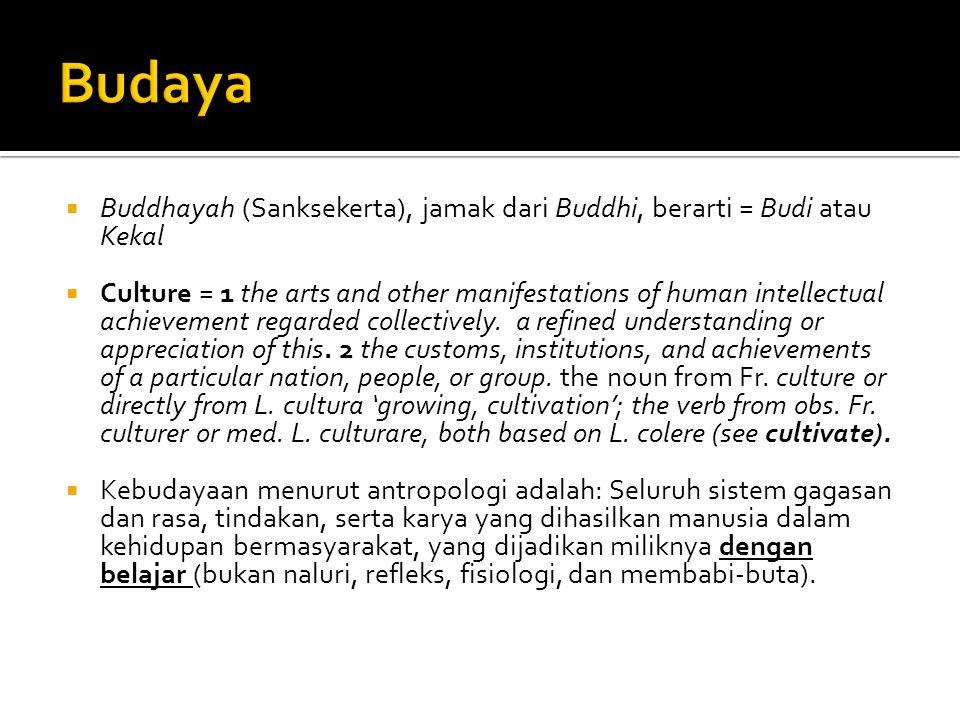 Budaya Buddhayah (Sanksekerta), jamak dari Buddhi, berarti = Budi atau Kekal.