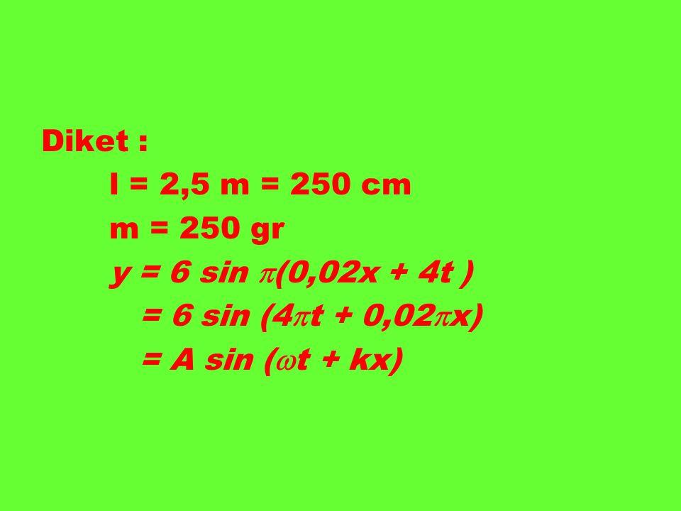 Diket : l = 2,5 m = 250 cm. m = 250 gr.