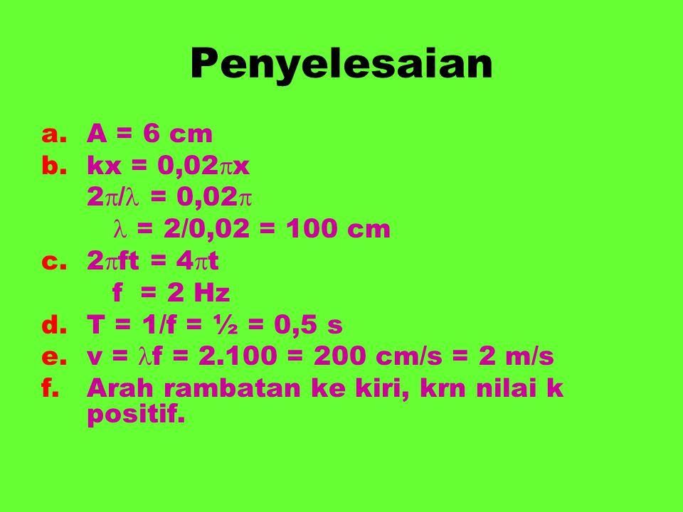 Penyelesaian A = 6 cm kx = 0,02x 2/ = 0,02  = 2/0,02 = 100 cm
