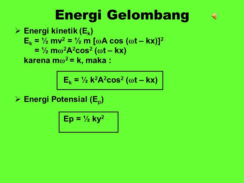 Energi Gelombang Energi kinetik (Ek)