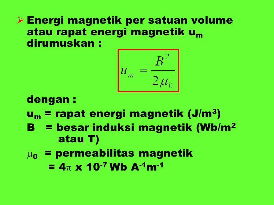 Energi magnetik per satuan volume atau rapat energi magnetik um dirumuskan :
