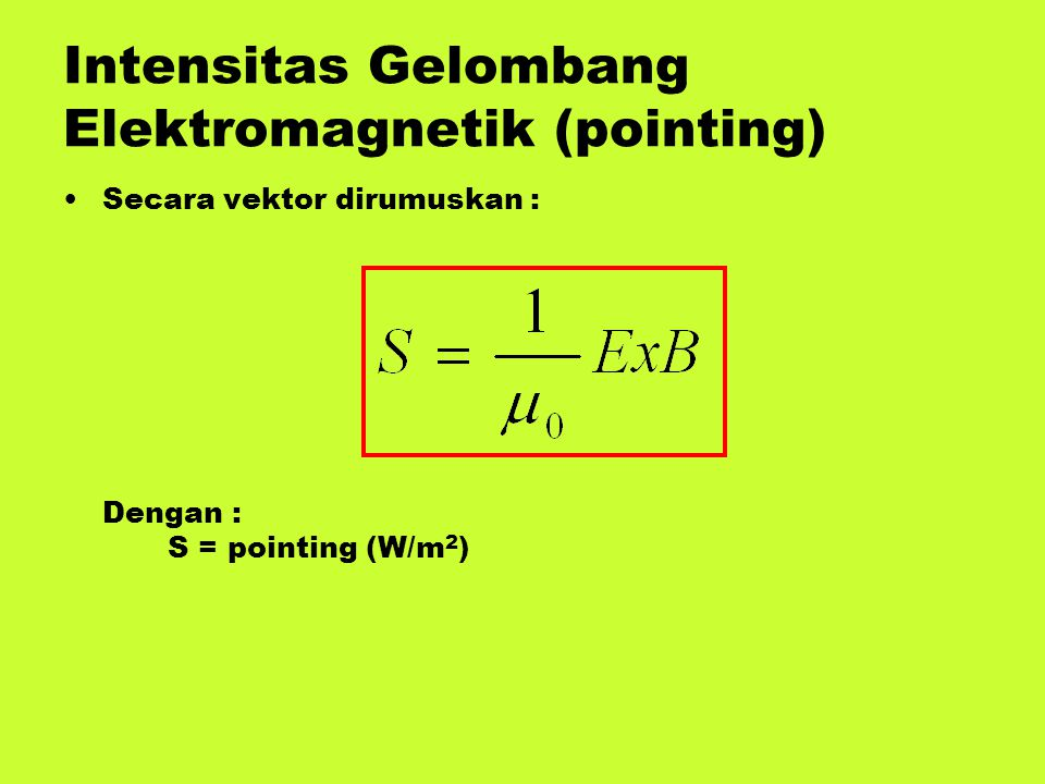 Intensitas Gelombang Elektromagnetik (pointing)