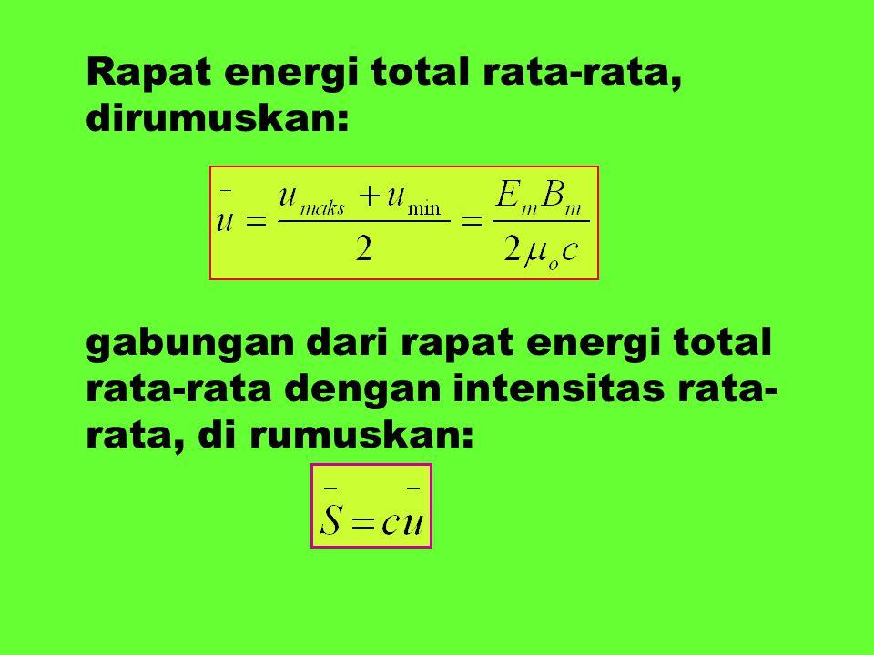 Rapat energi total rata-rata, dirumuskan: