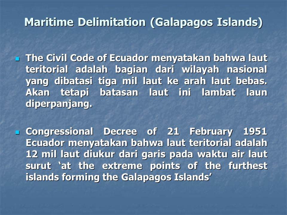 Maritime Delimitation (Galapagos Islands)