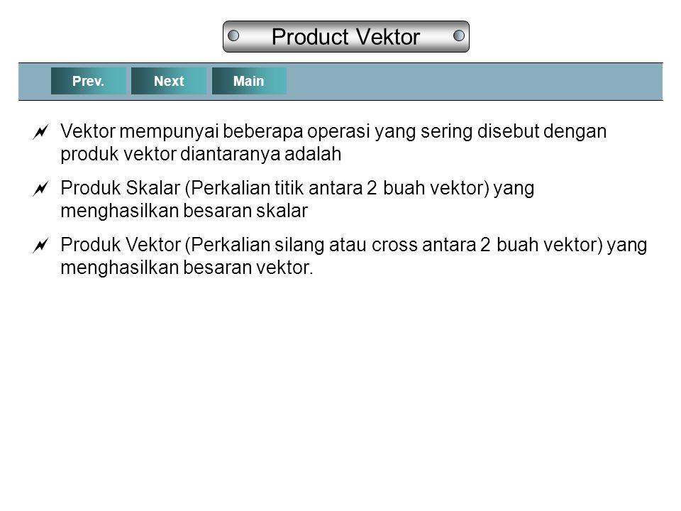 Product Vektor Prev. Next. Main. Vektor mempunyai beberapa operasi yang sering disebut dengan produk vektor diantaranya adalah.