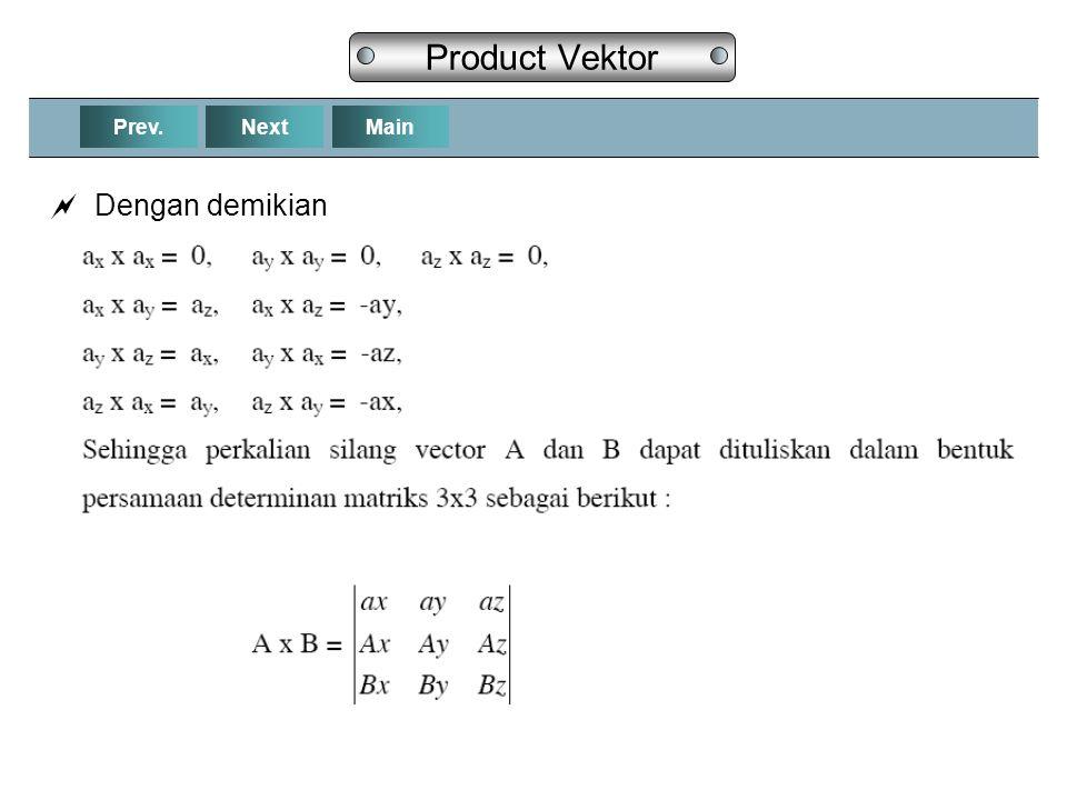 Product Vektor Prev. Next Main Dengan demikian