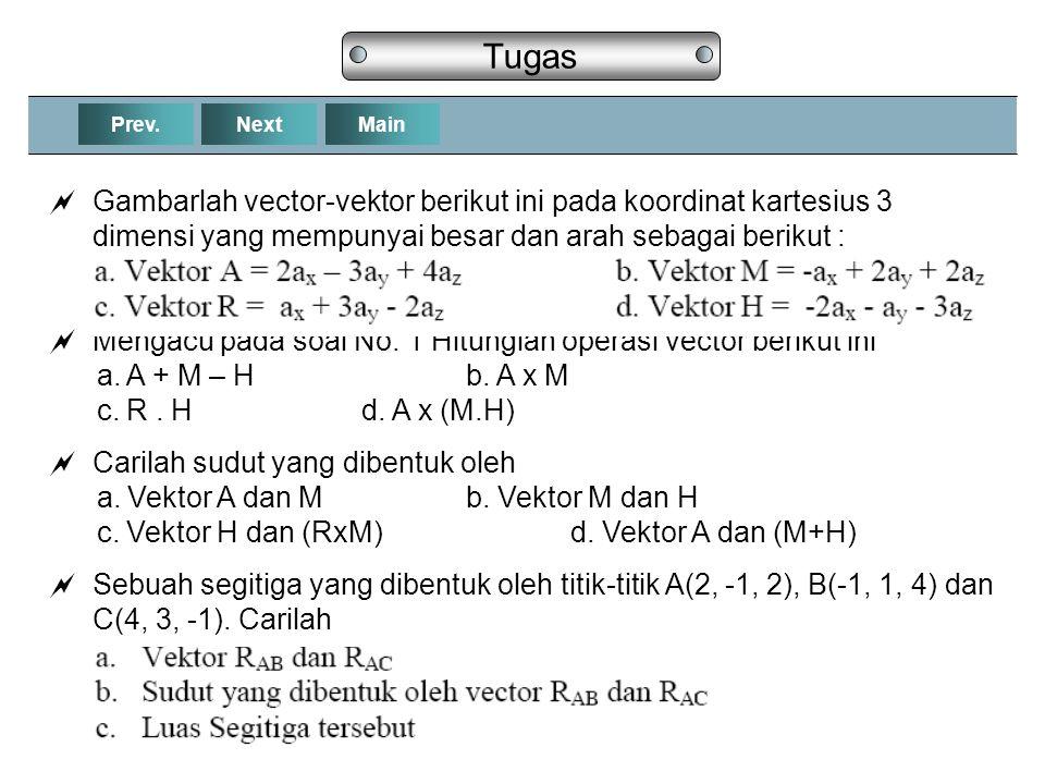 Tugas Prev. Next. Main. Gambarlah vector-vektor berikut ini pada koordinat kartesius 3 dimensi yang mempunyai besar dan arah sebagai berikut :