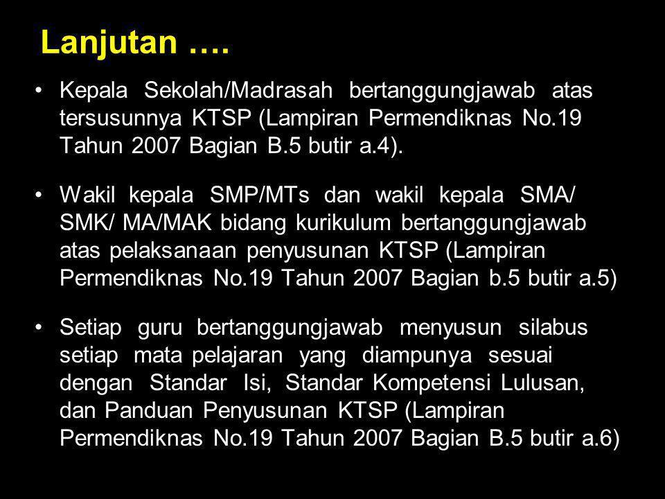 Lanjutan …. Kepala Sekolah/Madrasah bertanggungjawab atas tersusunnya KTSP (Lampiran Permendiknas No.19 Tahun 2007 Bagian B.5 butir a.4).