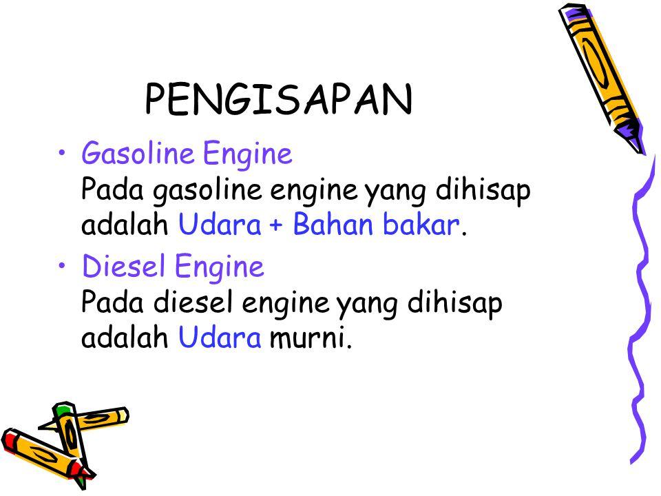 PENGISAPAN Gasoline Engine Pada gasoline engine yang dihisap adalah Udara + Bahan bakar.