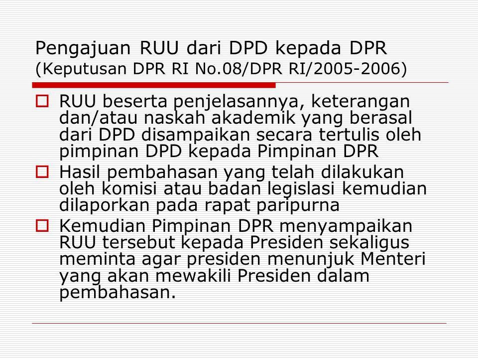 Pengajuan RUU dari DPD kepada DPR (Keputusan DPR RI No