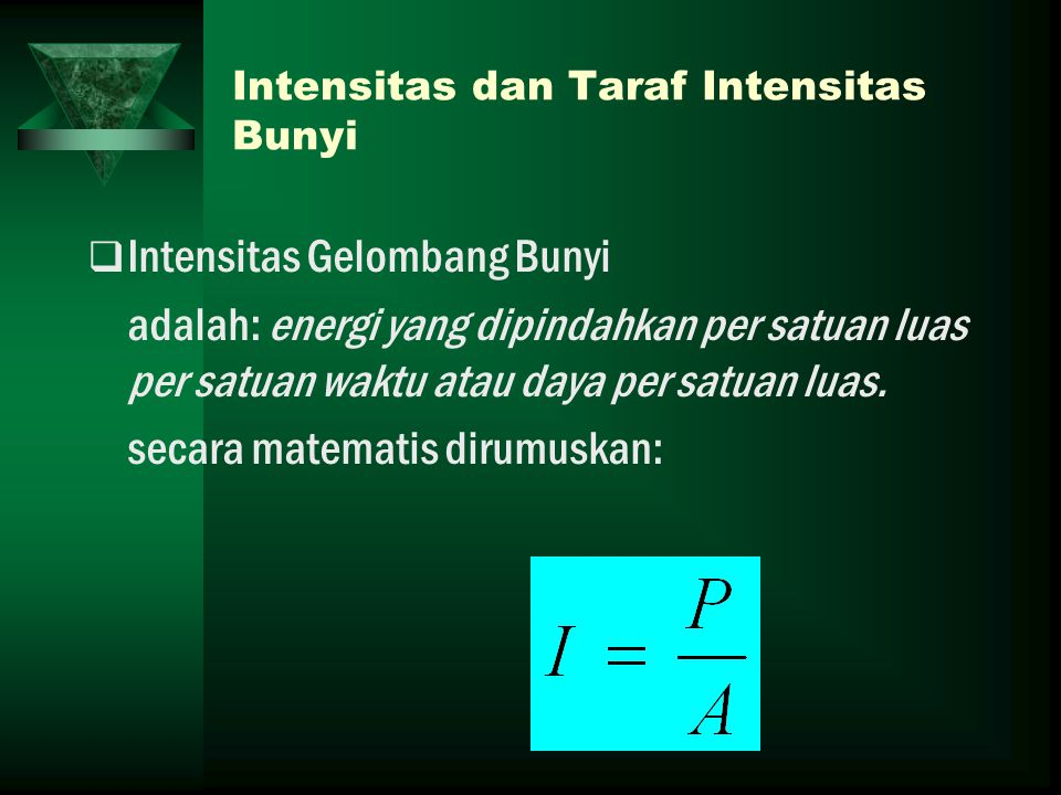 Intensitas dan Taraf Intensitas Bunyi