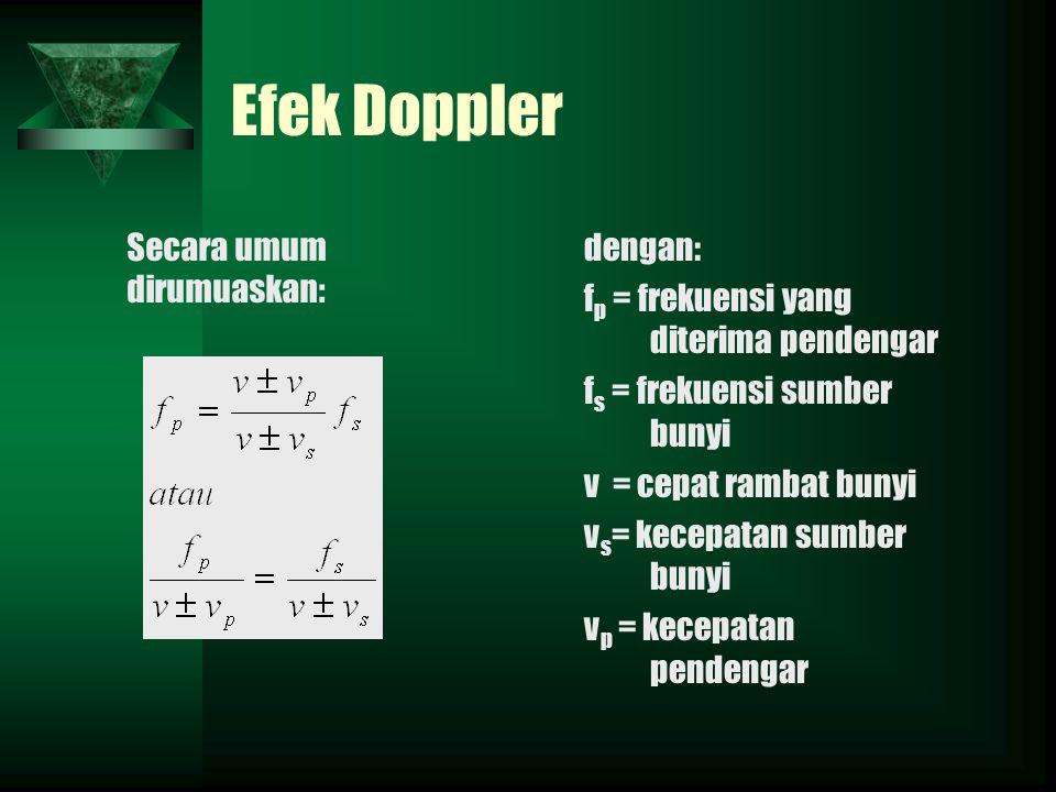 Efek Doppler Secara umum dirumuaskan: dengan: