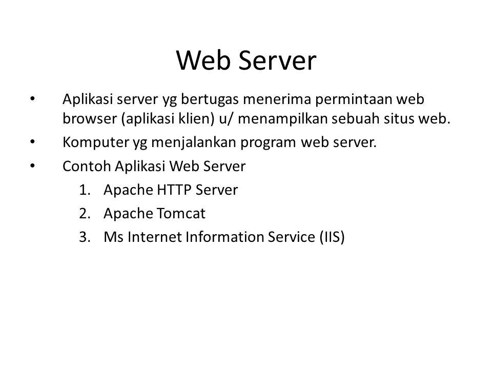 Web Server Aplikasi server yg bertugas menerima permintaan web browser (aplikasi klien) u/ menampilkan sebuah situs web.