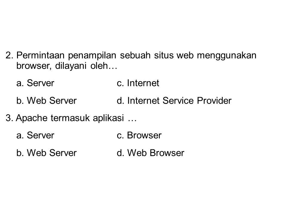 Permintaan penampilan sebuah situs web menggunakan browser, dilayani oleh…