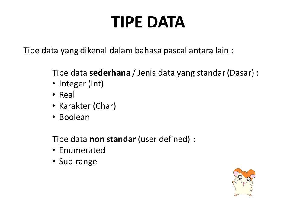 TIPE data Tipe data yang dikenal dalam bahasa pascal antara lain :