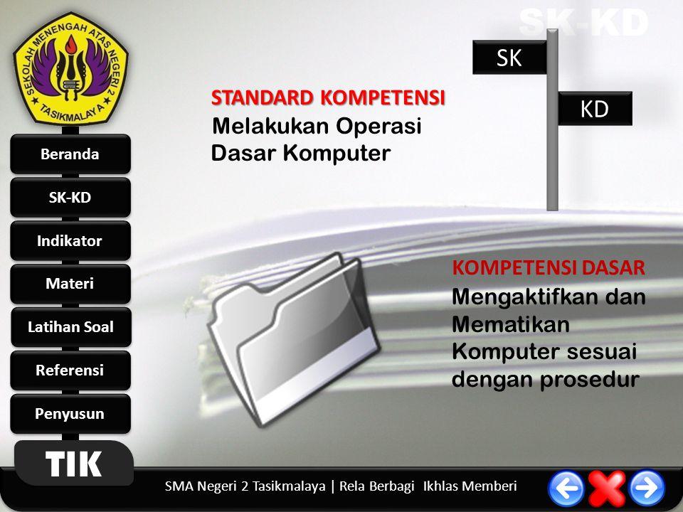 SK-KD SK KD STANDARD KOMPETENSI Melakukan Operasi Dasar Komputer