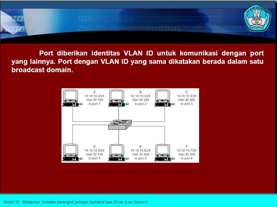 Port diberikan identitas VLAN ID untuk komunikasi dengan port yang lainnya. Port dengan VLAN ID yang sama dikatakan berada dalam satu broadcast domain.