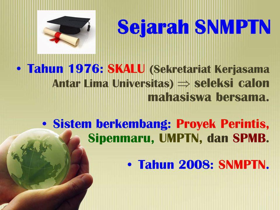 Sejarah SNMPTN Tahun 1976: SKALU (Sekretariat Kerjasama Antar Lima Universitas)  seleksi calon mahasiswa bersama.