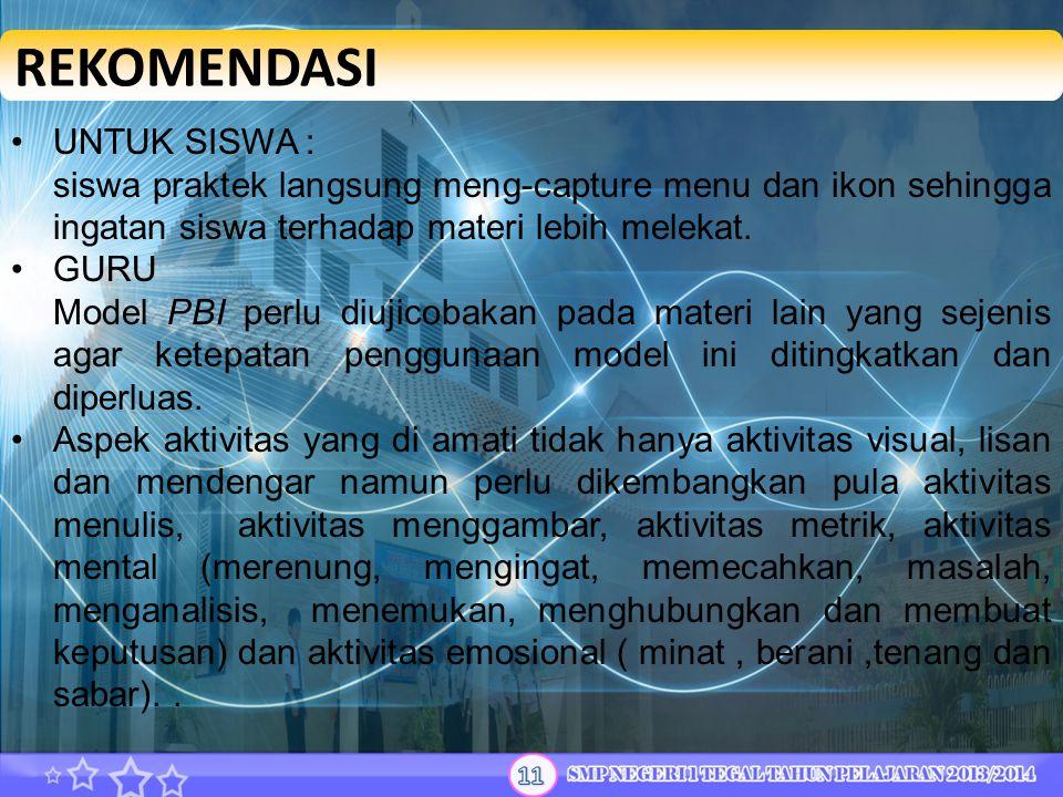 REKOMENDASI UNTUK SISWA :