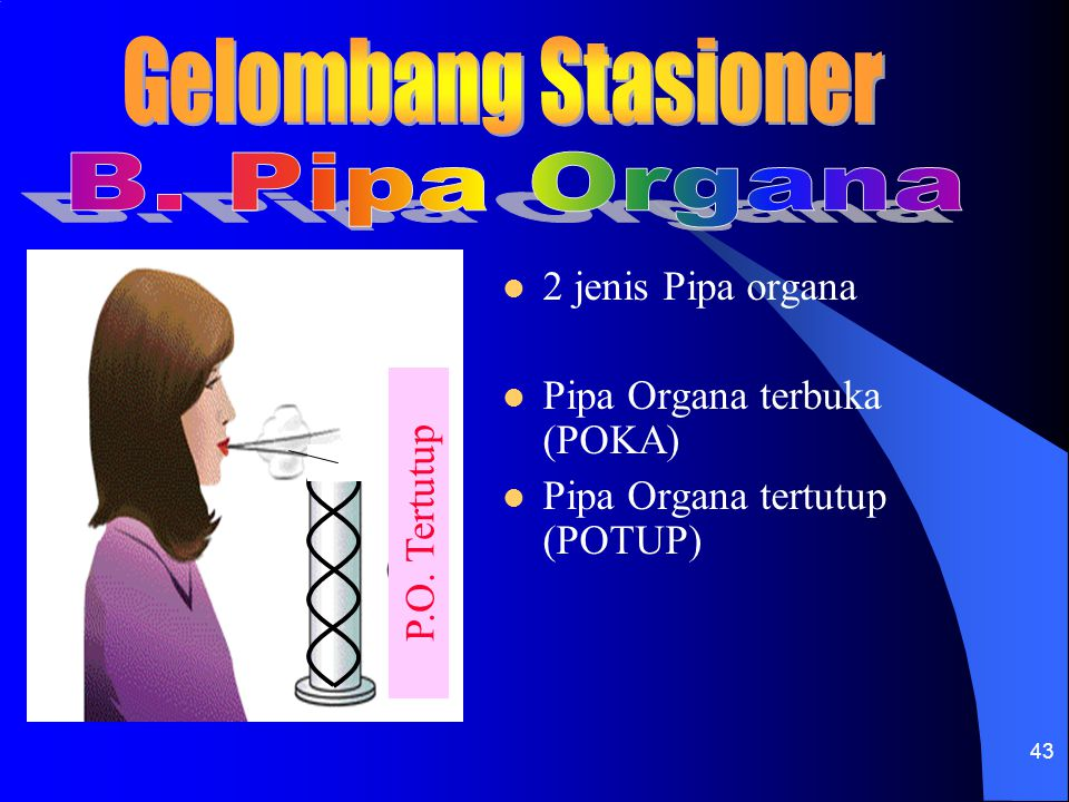 Gelombang Stasioner B. Pipa Organa 2 jenis Pipa organa