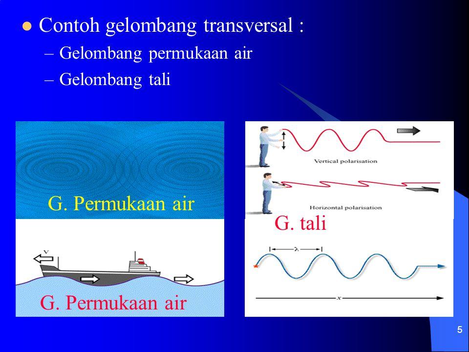 Contoh gelombang transversal :