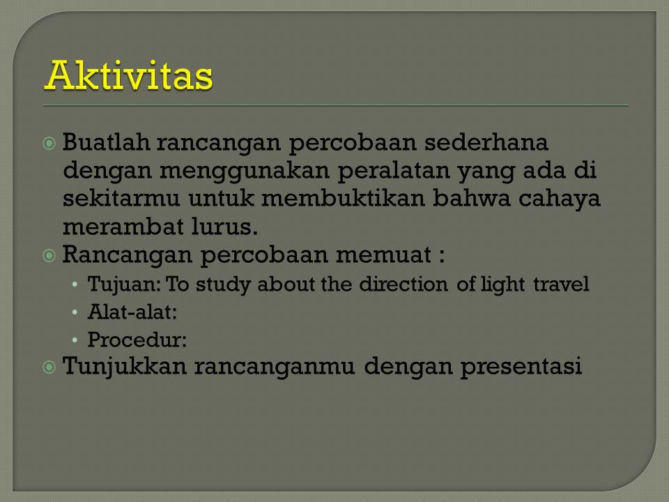 Aktivitas Buatlah rancangan percobaan sederhana dengan menggunakan peralatan yang ada di sekitarmu untuk membuktikan bahwa cahaya merambat lurus.