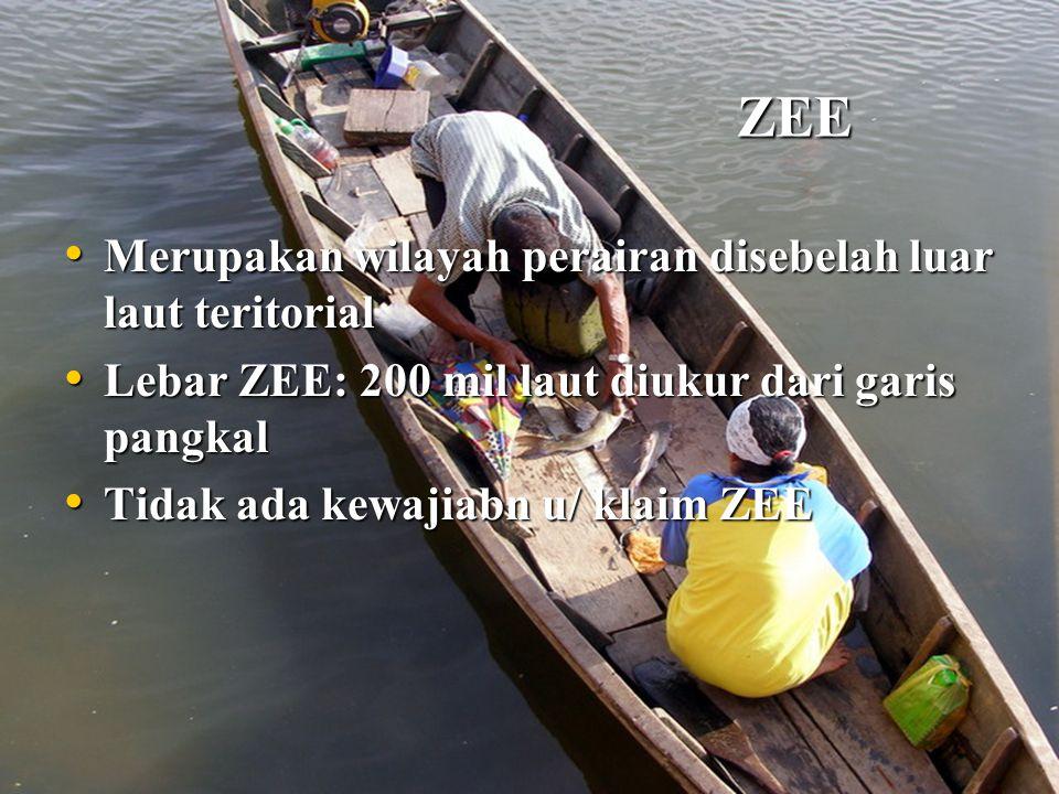 ZEE Merupakan wilayah perairan disebelah luar laut teritorial. Lebar ZEE: 200 mil laut diukur dari garis pangkal.