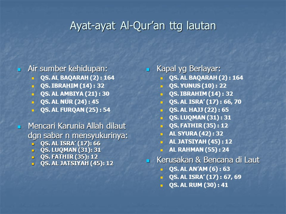 Ayat-ayat Al-Qur'an ttg lautan