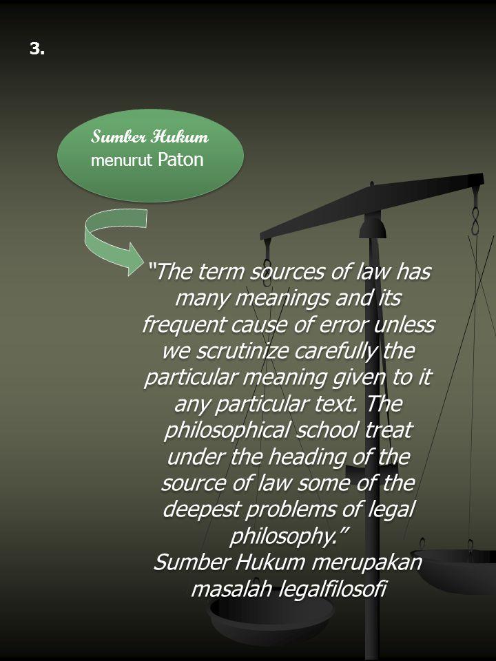 Sumber Hukum merupakan masalah legalfilosofi