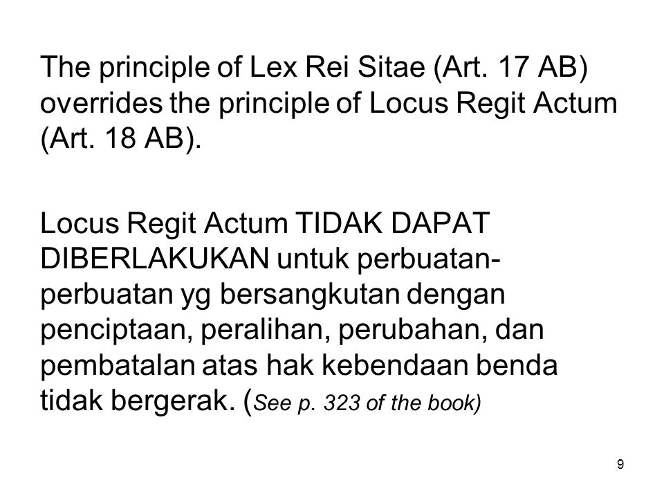 The principle of Lex Rei Sitae (Art
