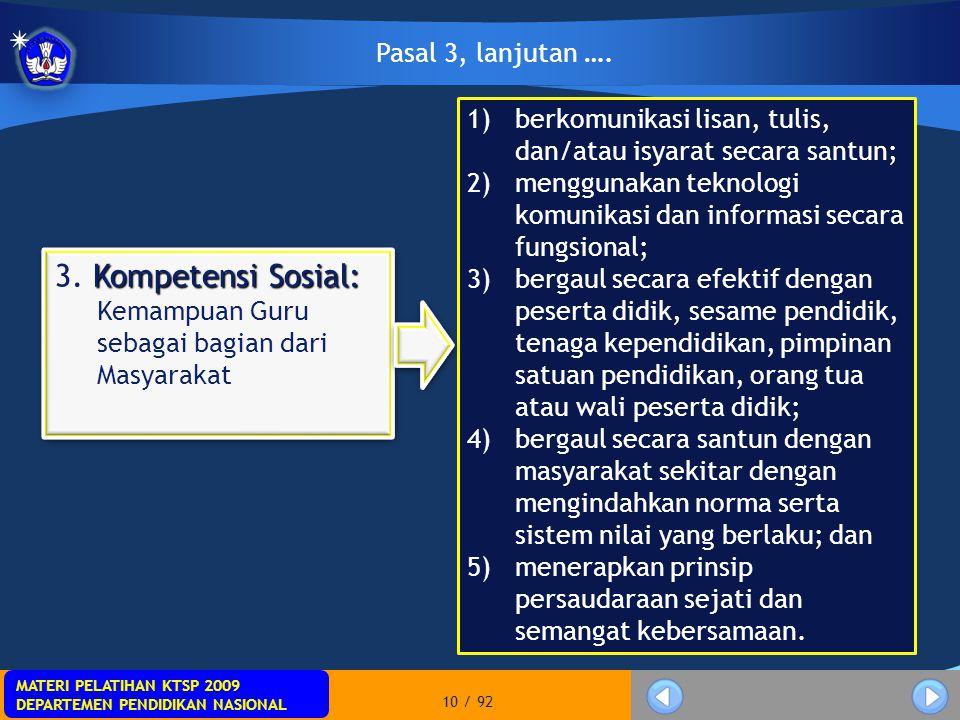 3. Kompetensi Sosial: Kemampuan Guru sebagai bagian dari Masyarakat