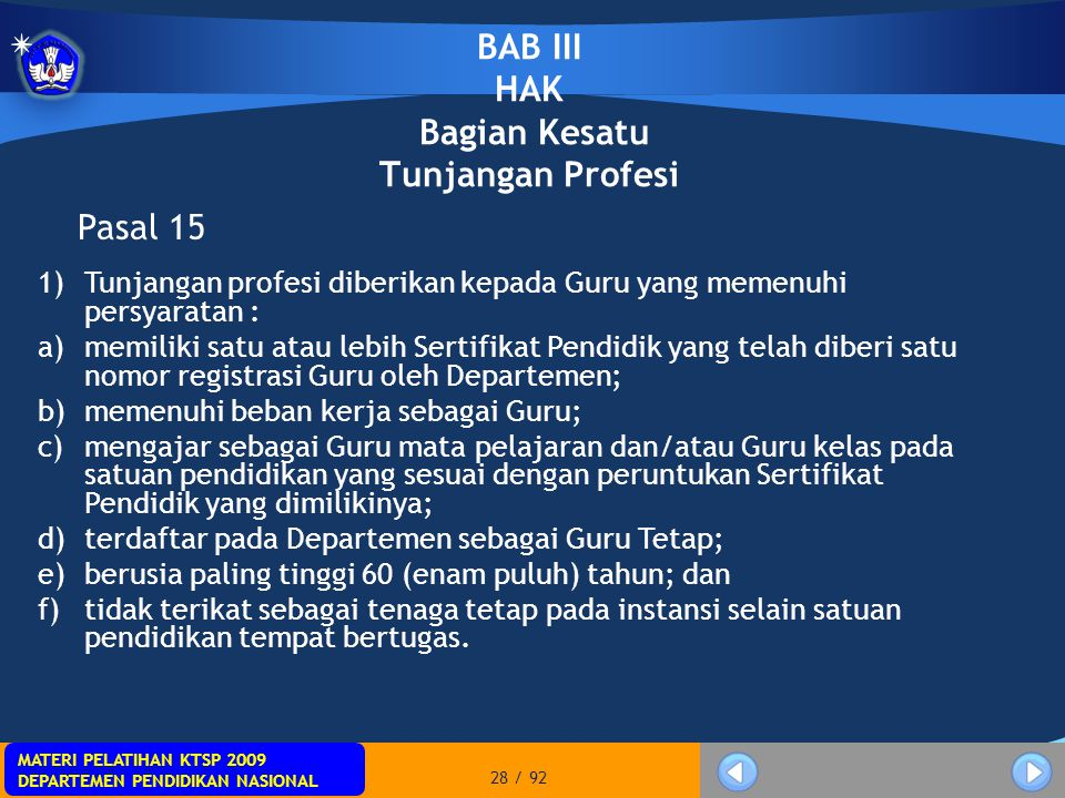 BAB III HAK Bagian Kesatu Tunjangan Profesi