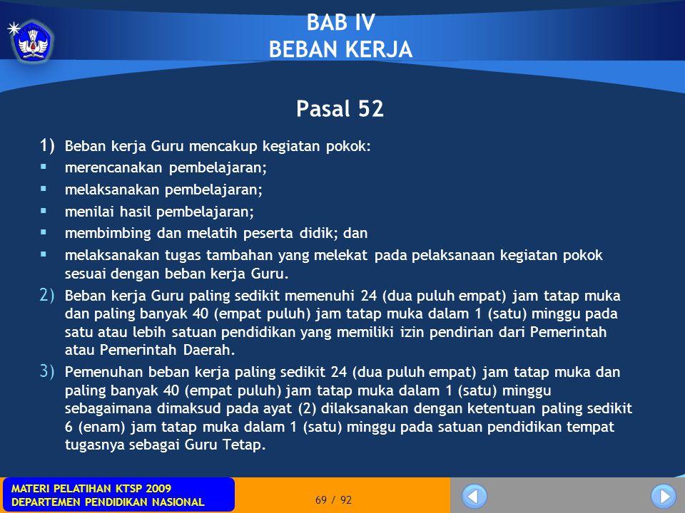 BAB IV BEBAN KERJA Pasal 52
