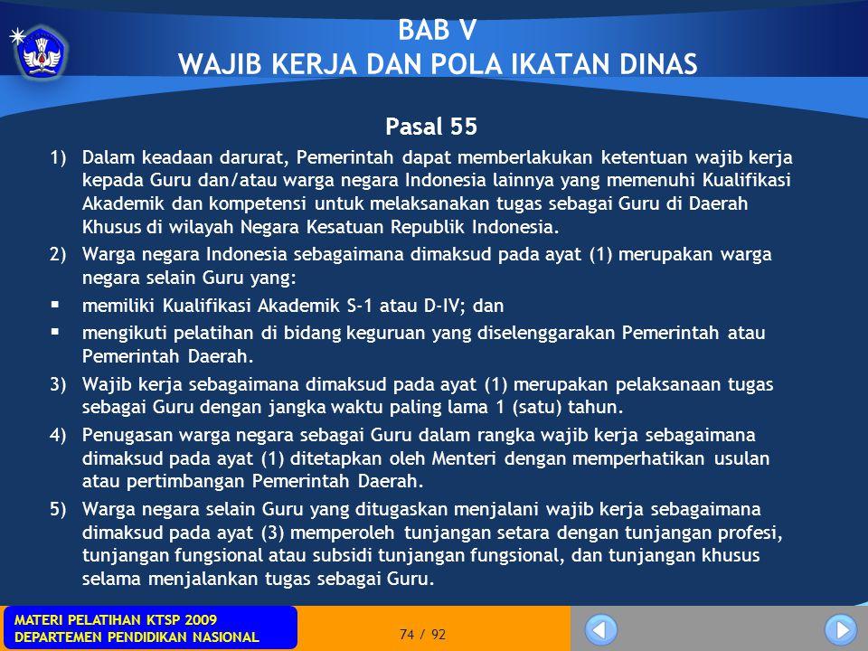 BAB V WAJIB KERJA DAN POLA IKATAN DINAS