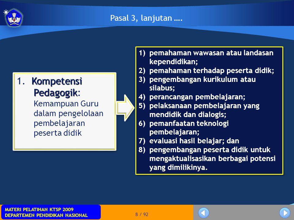 Pasal 3, lanjutan …. pemahaman wawasan atau landasan kependidikan; pemahaman terhadap peserta didik;