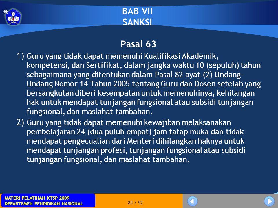 BAB VII SANKSI Pasal 63.
