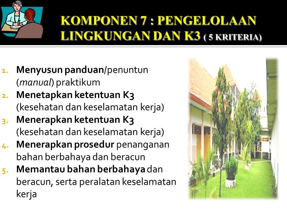 KOMPONEN 7 : PENGELOLAAN LINGKUNGAN DAN K3 ( 5 KRITERIA)