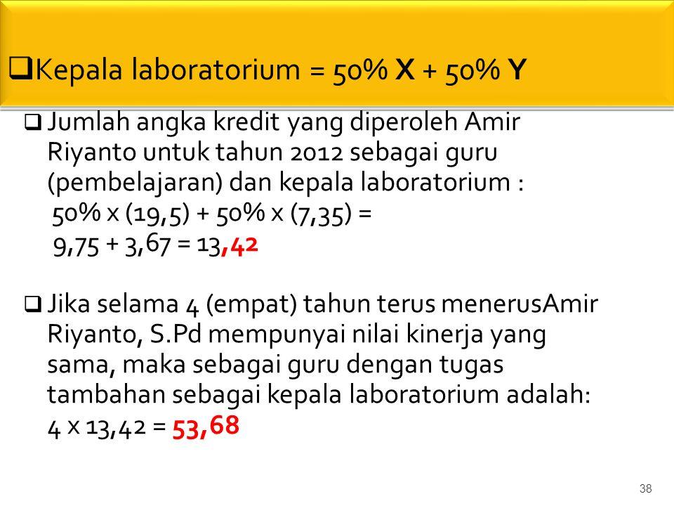 Kepala laboratorium = 50% X + 50% Y