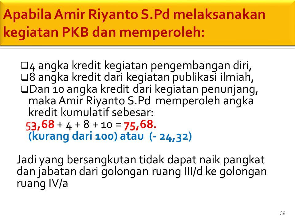 Apabila Amir Riyanto S.Pd melaksanakan kegiatan PKB dan memperoleh: