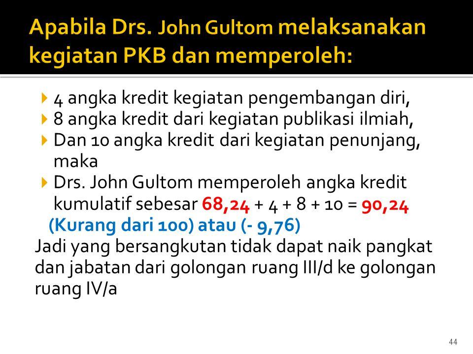 Apabila Drs. John Gultom melaksanakan kegiatan PKB dan memperoleh: