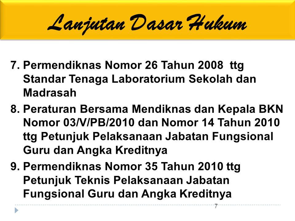 Lanjutan Dasar Hukum 7. Permendiknas Nomor 26 Tahun 2008 ttg Standar Tenaga Laboratorium Sekolah dan Madrasah.