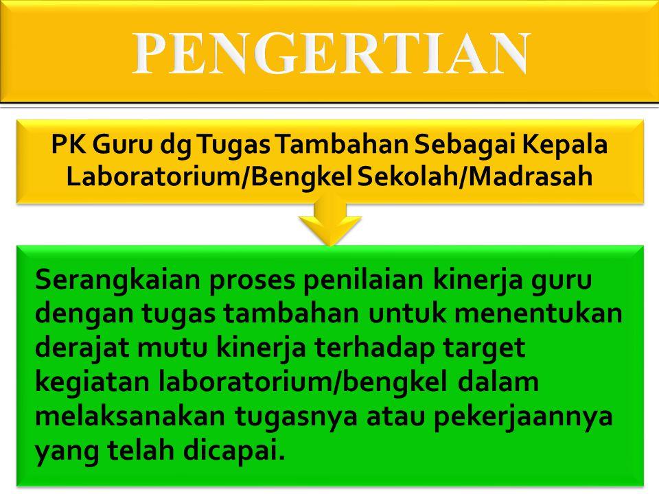 PENGERTIAN PK Guru dg Tugas Tambahan Sebagai Kepala Laboratorium/Bengkel Sekolah/Madrasah.