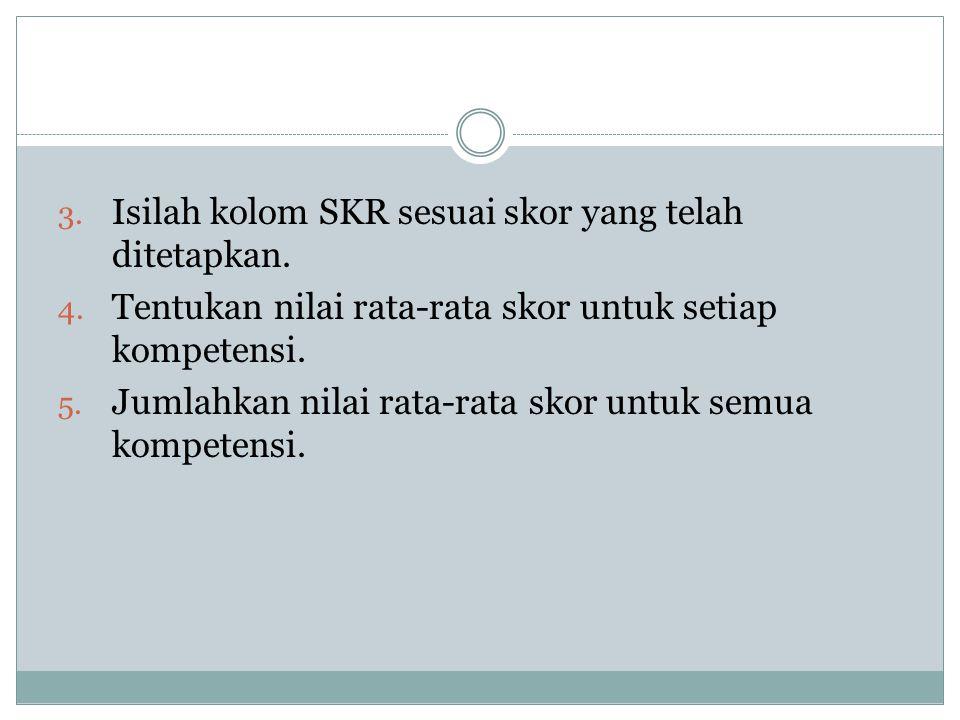 Isilah kolom SKR sesuai skor yang telah ditetapkan.