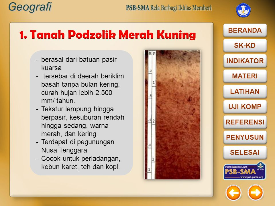 1. Tanah Podzolik Merah Kuning