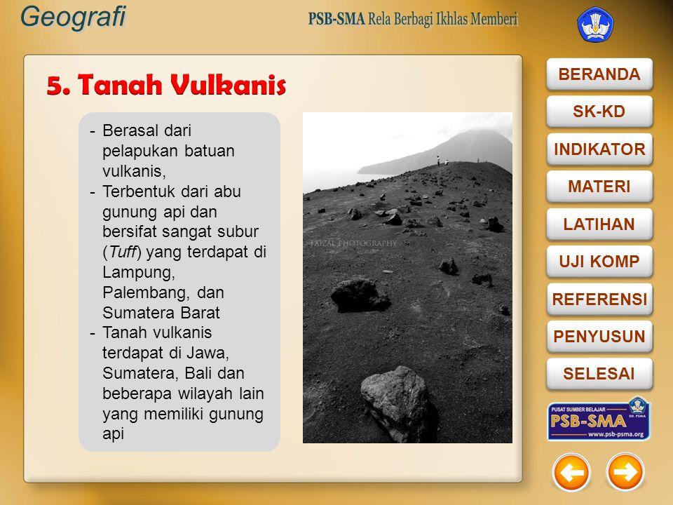 5. Tanah Vulkanis Berasal dari pelapukan batuan vulkanis,
