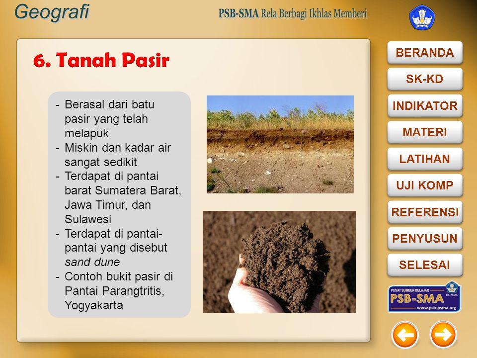 6. Tanah Pasir Berasal dari batu pasir yang telah melapuk