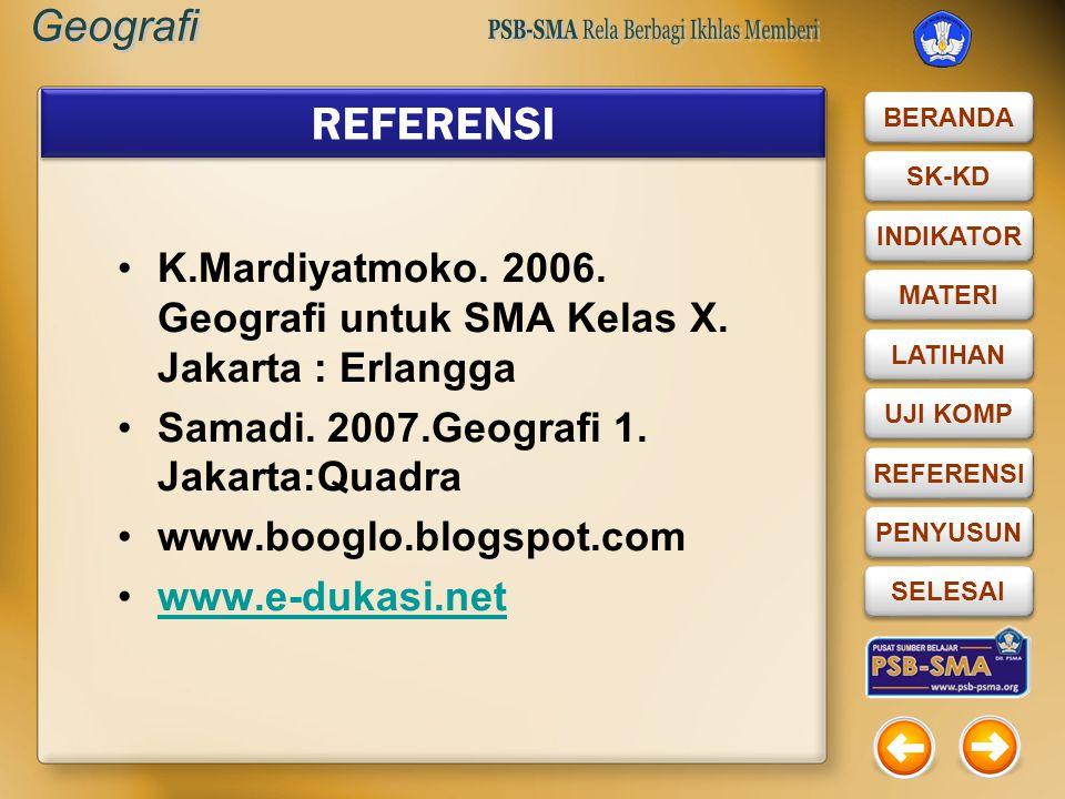 REFERENSI K.Mardiyatmoko. 2006. Geografi untuk SMA Kelas X. Jakarta : Erlangga. Samadi. 2007.Geografi 1. Jakarta:Quadra.