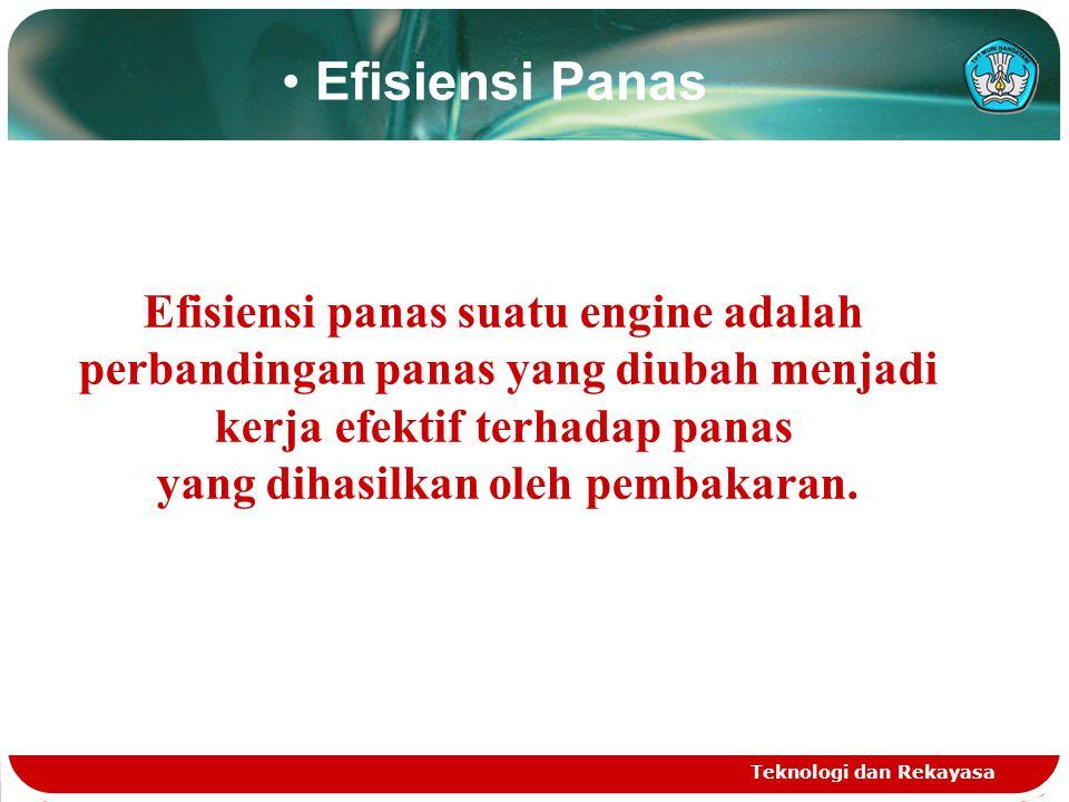 Efisiensi Panas Efisiensi panas suatu engine adalah